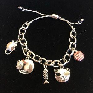 Kitty Cat Charm Bracelet w/Pull Closure